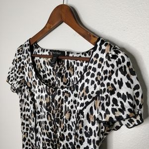 White House Black Market Leopard Silk Blouse